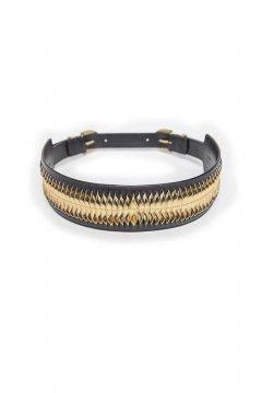 Cinturón MASAVI Piel Negro Oro