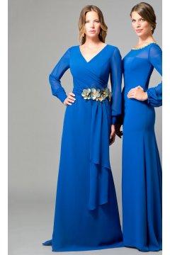 Vestido ANA TORRES Largo Color Tinta Flores