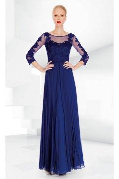 Vestido SONIA PEÑA Largo Plisado Azul Klein