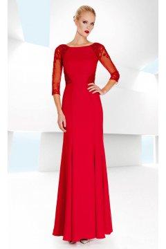 Vestido SONIA PEÑA Largo Rojo Godet y Bordados