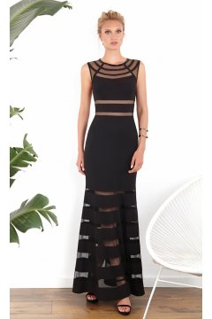 Vestido MATILDE CANO Negro Transparencias