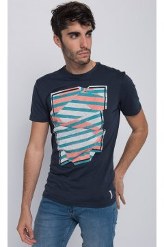 Camiseta Print Geométrico Multicolor