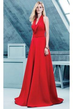Vestido OMUR OZER Largo Rojo Cinturón