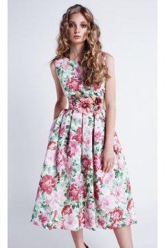 Vestido MASS MATILDE CANO Grosella Falda Estampada