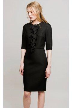Vestido ALBA CONDE Negro Chorreras Pétalos