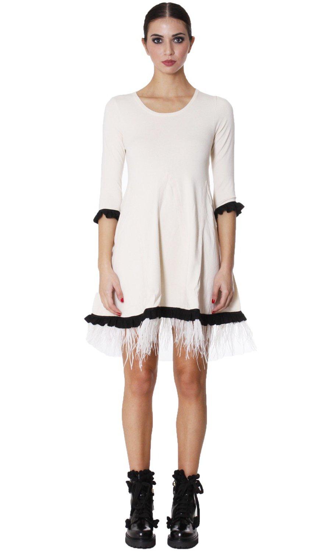 vestido twinset de punto con plumas