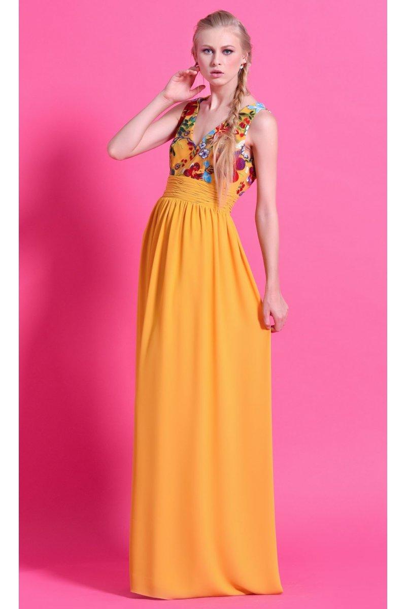 Vestido NB STYLE NURIBEL Amarillo Bordado