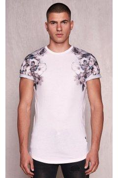 Camiseta RELIGION Wild Night Shoulder Print Blanca