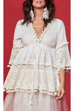Vestido ANTICA SARTORIA Blanco Calado