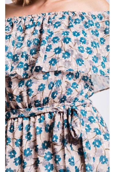 Vestido ALBA CONDE Off Shoulder Plumetti Estampado