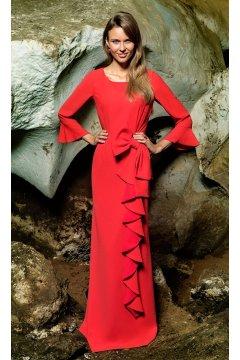 Vestido EVASSÉ Largo Rojo Volantes