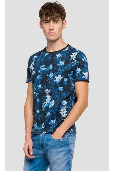 Camiseta REPLAY Estampado Flores Indigo