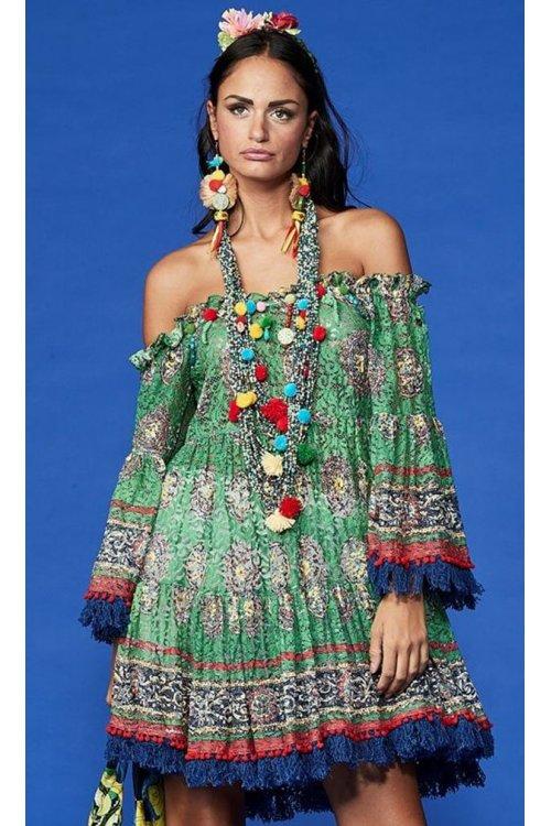 Vestido ANTICA SARTORIA Print Multi Verde
