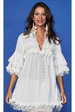 Vestido ANTICA SARTORIA Plumetti Blanco