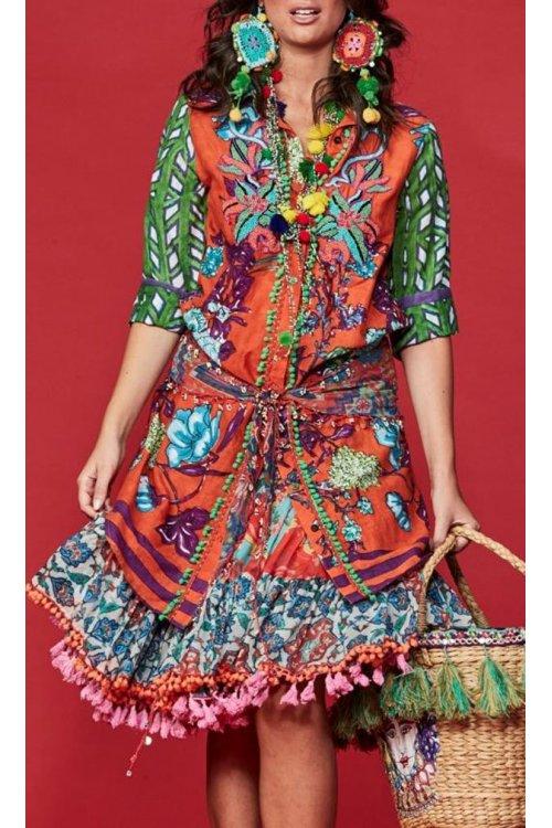 Vestido ANTICA SARTORIA Camisero Print Multicolor