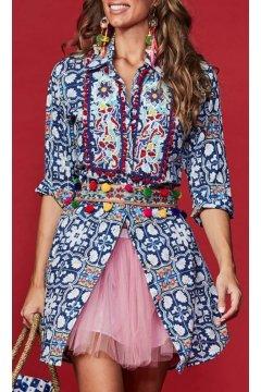 Vestido ANTICA SARTORIA Camisero Print Azul