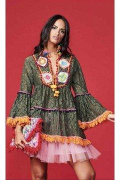 Vestido ANTICA SARTORIA Encaje Pechera Y Flecos