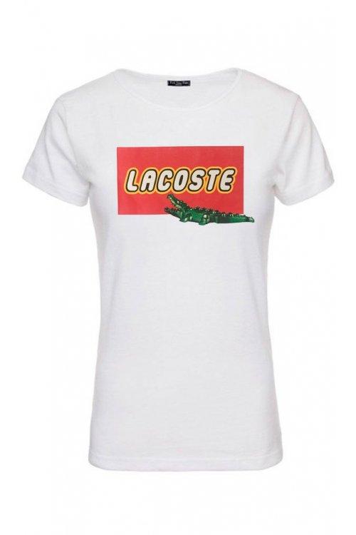 Camiseta Unisex FUCK YOUR FAKE Lacoste Lego Blanca