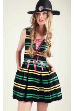 Vestido H. PREPPY Cuerdas Rayas Cordones