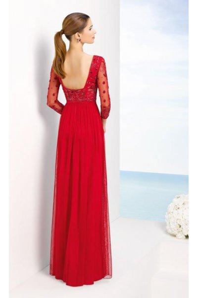 Vestido MARFIL Tul Pedrería Rojo