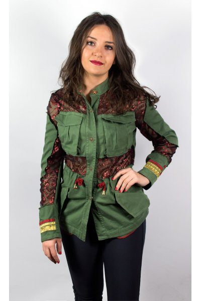 Chaqueta PROJECT FOCE Verde Bordados Transparencias
