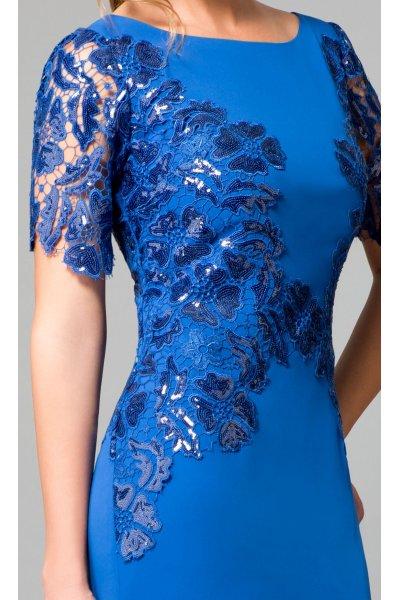 Vestido ANA TORRES Azul Klein Detalles Paillettes