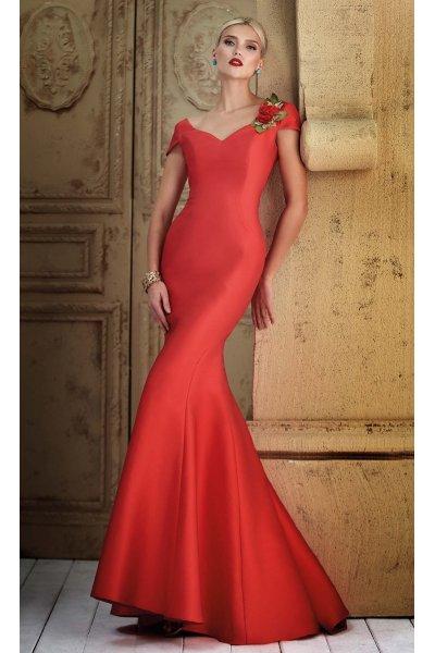 Vestido CARLA RUIZ Rojo Largo Sirena