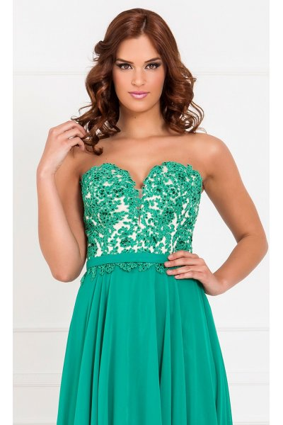 Vestido X&M Verde Palabra Honor