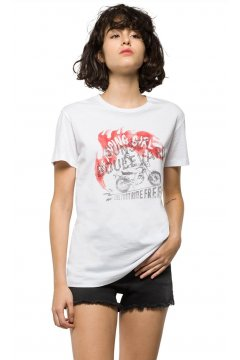 Camiseta REPLAY Estampado y Tachuelas
