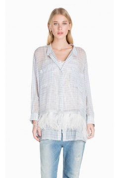 Camisa TWIN-SET Vichy con Plumas
