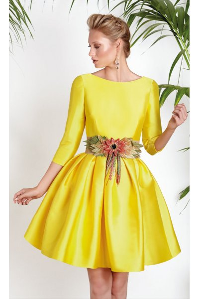 Vestido + Cinturón MATILDE CANO Amarillo Escote Espanda