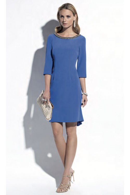 Vestido EVASSÉ Azul Recto Cuello Joya