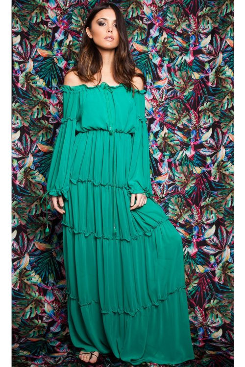 Vestido MASAVI Volantes Verde