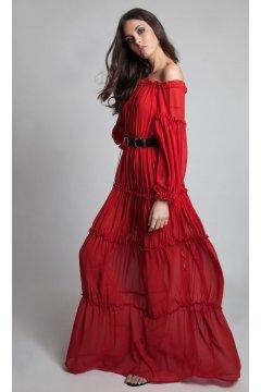 Vestido MASAVI Volantes Rojo