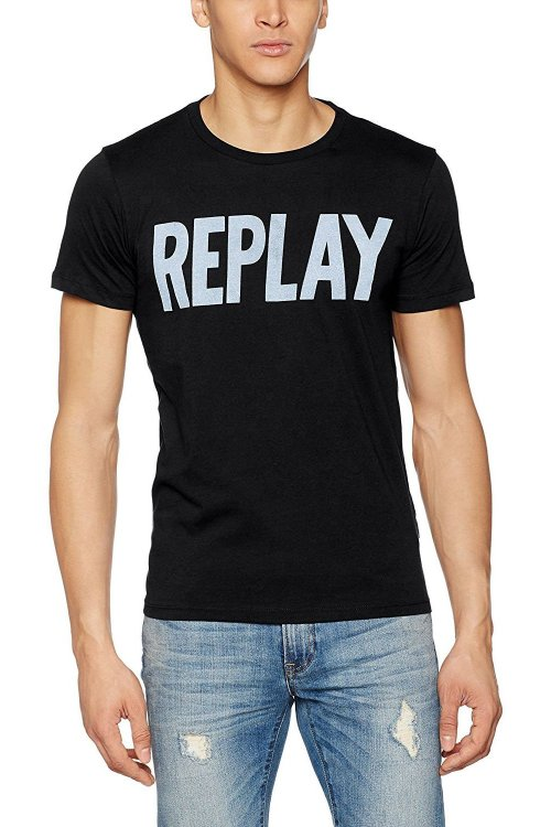 Camiseta REPLAY Logo Negra