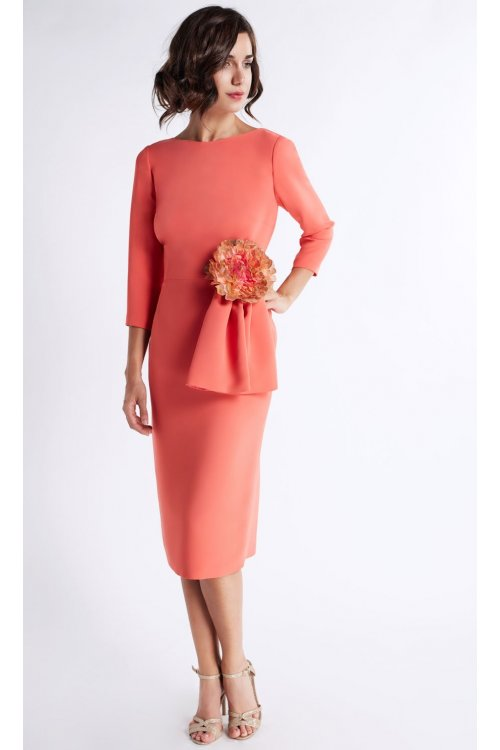 Vestido MATILDE CANO Coral Corto Flor