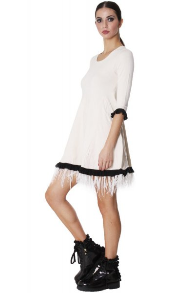 Vestido TWIN-SET de Punto con Plumas