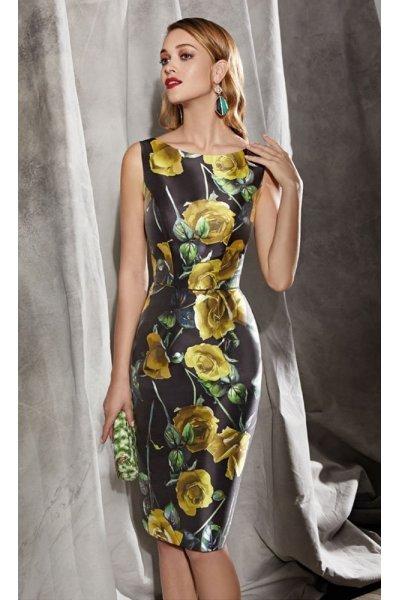 Vestido VALERIO LUNA Seda Estampado Floral Mostaza