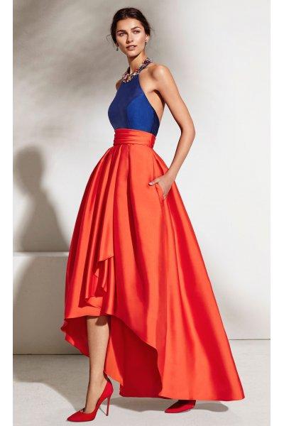 Vestido MARFIL Bicolor Asimétrico