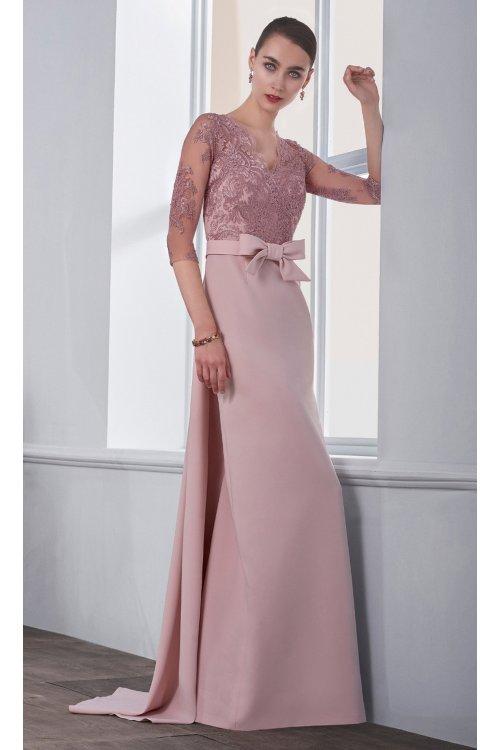 Vestido Angela Ariza Crepe Tul Bordado