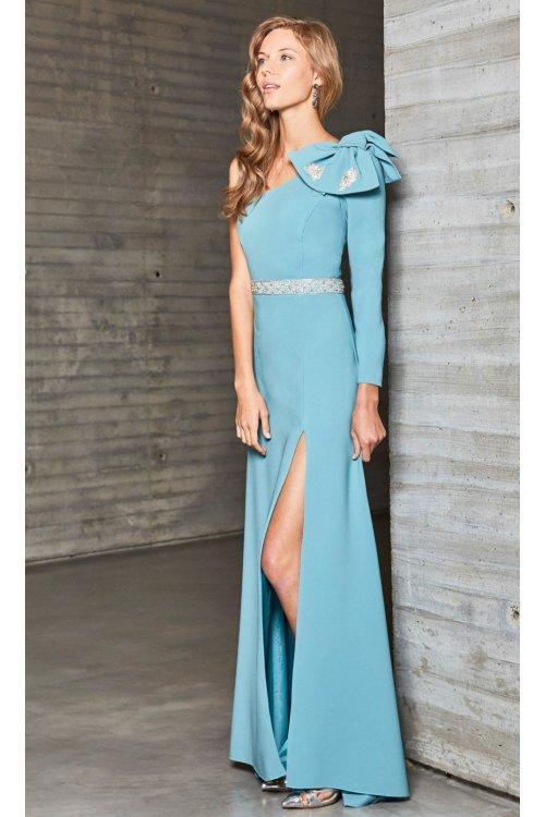 vestido ana torres celeste hombro lazo