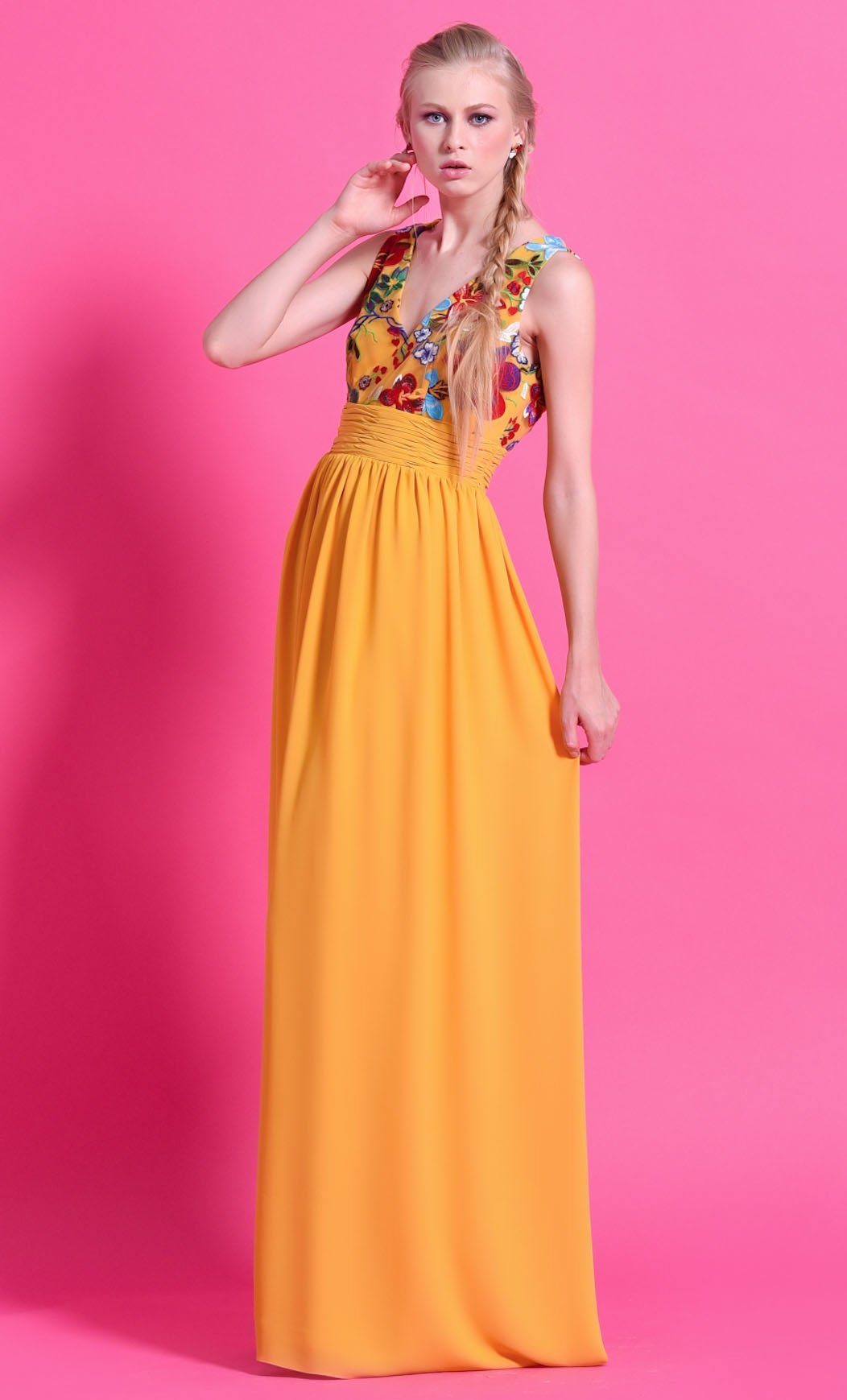 Bonito Vestido De Fiesta Largo Amarillo Viñeta - Colección de ...
