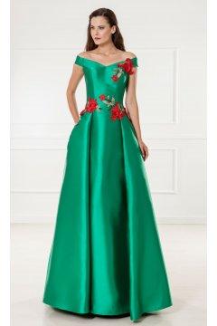 Vestido X&M Largo Mikado Verde Flores