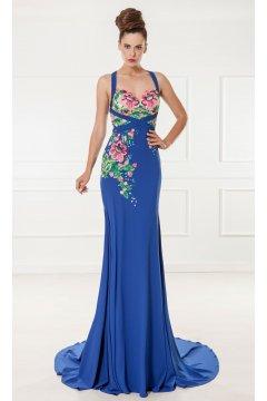 Vestido X&M Azulón Flores Bordadas