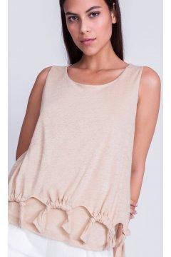 Camiseta ALBA CONDE Bajo Anudado Camel