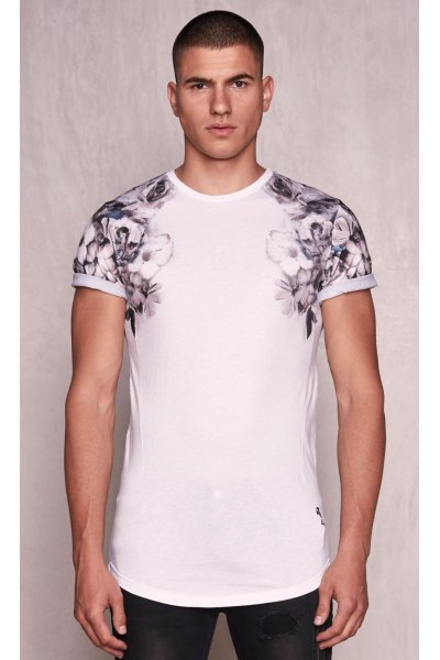 Camiseta RELIGION Wild Night Shoulder Print Blanca