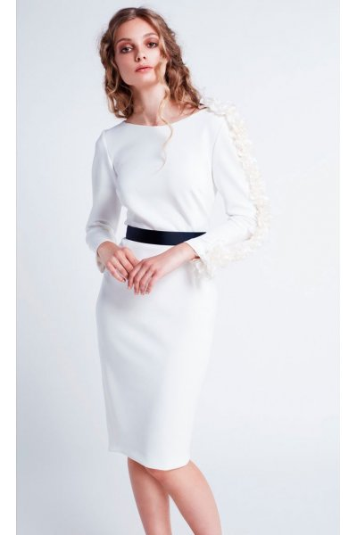 Vestido MASS MATILDE CANO Blanco Manga Francesa