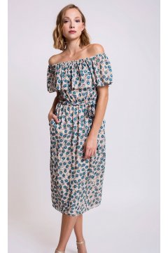 Vestido ALBA CONDE Off Shoulder Plumetti Estampado