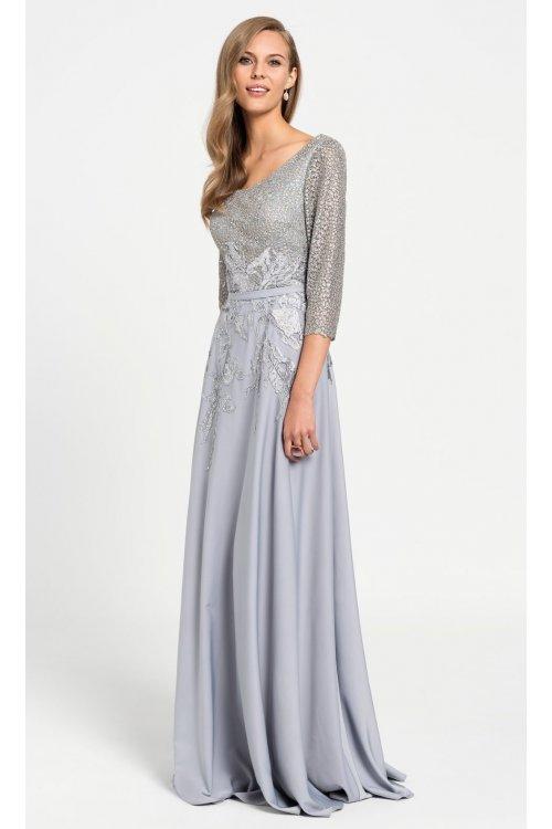 vestido evassÉ largo gris perla