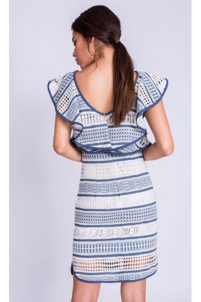 Vestido ALBA CONDE Encaje Blanco Y Azul